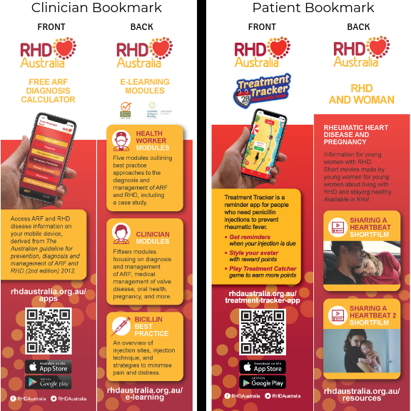 Bookmark for clinicians/health staff - features a QR code which quickly links to the ARF Diagnosis and Guideline App, and information about the RHDAustralia free e-learning modules.