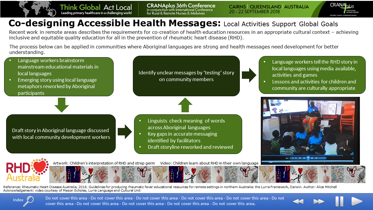 This poster describes the requirements for co-creation of health education resources in an appropriate cultural context - achieving inclusive and equitable quality education for all in the prevention of rheumatic heart disease.