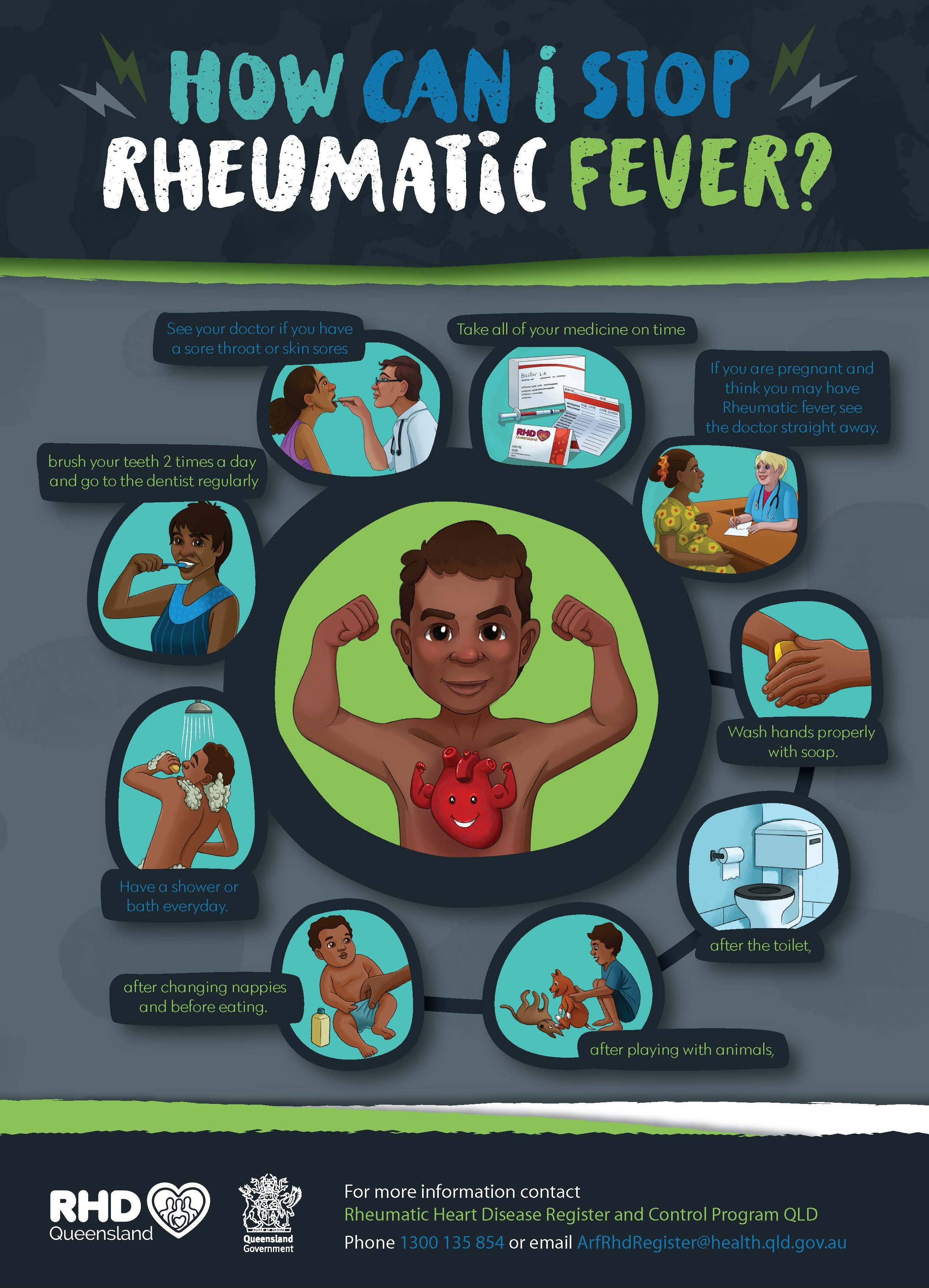 How can I Stop Rhematic Fever? A3 size poster explaining how to prevent ARF.