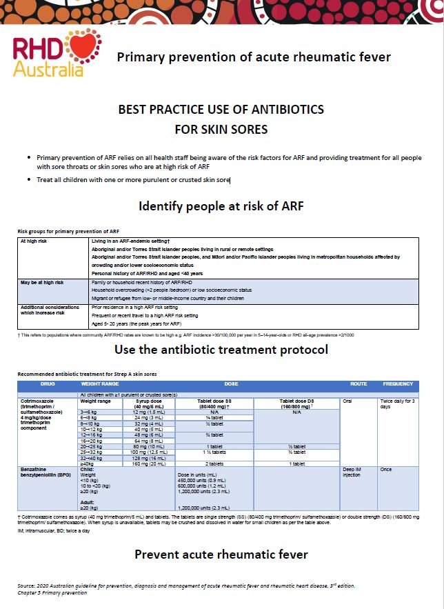 Primary prevention of ARF relies on all health staff being aware of the risk factors for ARF and providing treatment for all people with sore throats or skin sores who are at high risk of ARF.