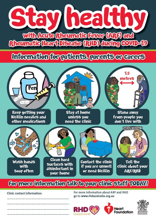 Stay healthy with Acute Rheumatic Fever (ARF) and Rheumatic Heart Disease (RHD) during COVID-19. Information for patients, parents or carers.