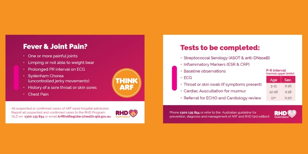 This double-sided lanyard card was designed to assist health professionals recognise the signs, symptoms and tests related to the diagnosis of acute rheumatic fever.