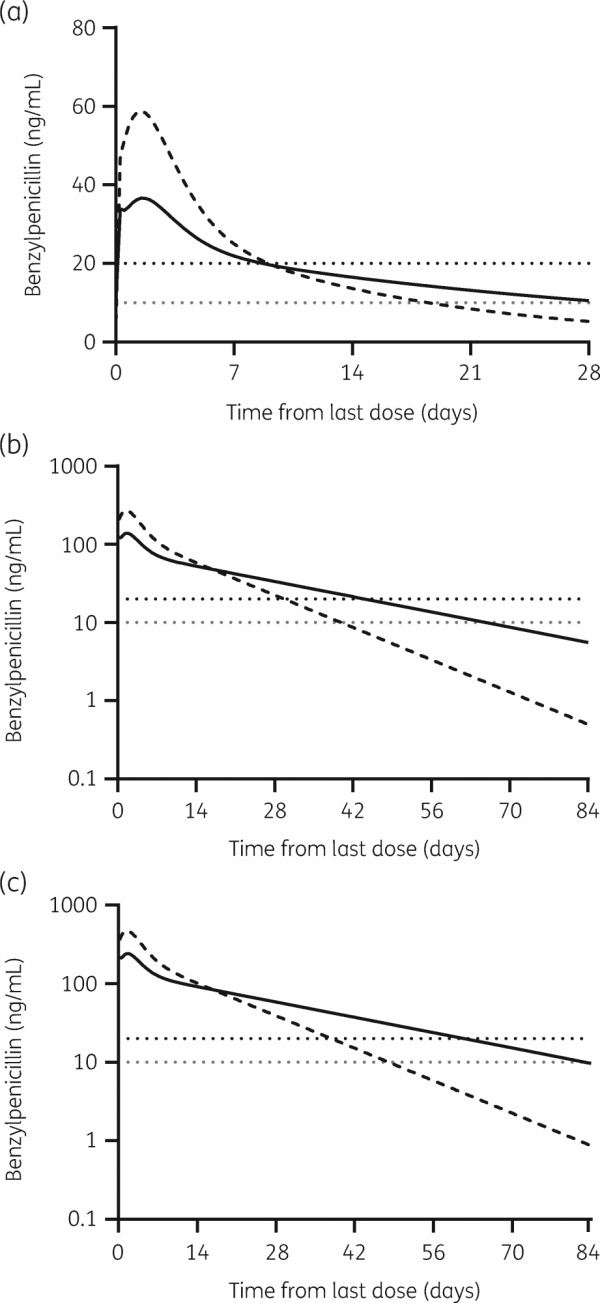 Figure: Computer-generated estimates of blood penicillin concentrations following injection using (a) standard monthly injection, (b) 5-times the monthly dose and (c) 20mL of BPG.