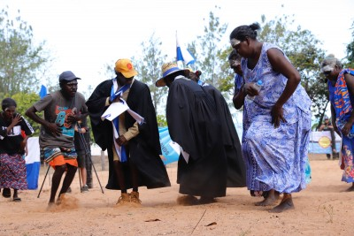 Graduates and their families spontaneously burst into traditional dance at the conclusion of the graduation ceremony