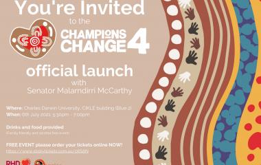 Please join RHDAustralia as we celebrate the official launch of the Champions4Change program with Senator Malarndirri McCarthy, Senator for the Northern Territory and Vicki Wade, Director RHDAustralia.