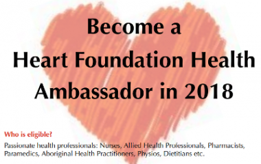 Become a Heart Foundation Health Ambassador in 2018 and the benefits of joining the program.