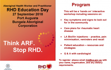 South Australia Aboriginal Heath Worker and Practitioner RHD Education Day