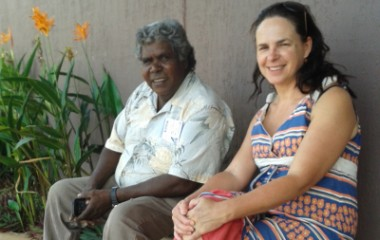 Djambawa Marawilli, AM, Ceremonial leader of Madarrpa Clan at Yilpara (Baniyala) and Emma Haynes (Project Coordinator, Menzies).