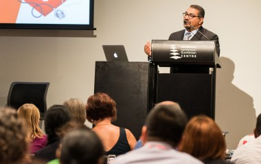 Dr El Gamel presenting at the RHDAustralia Close The Gap Breakfast