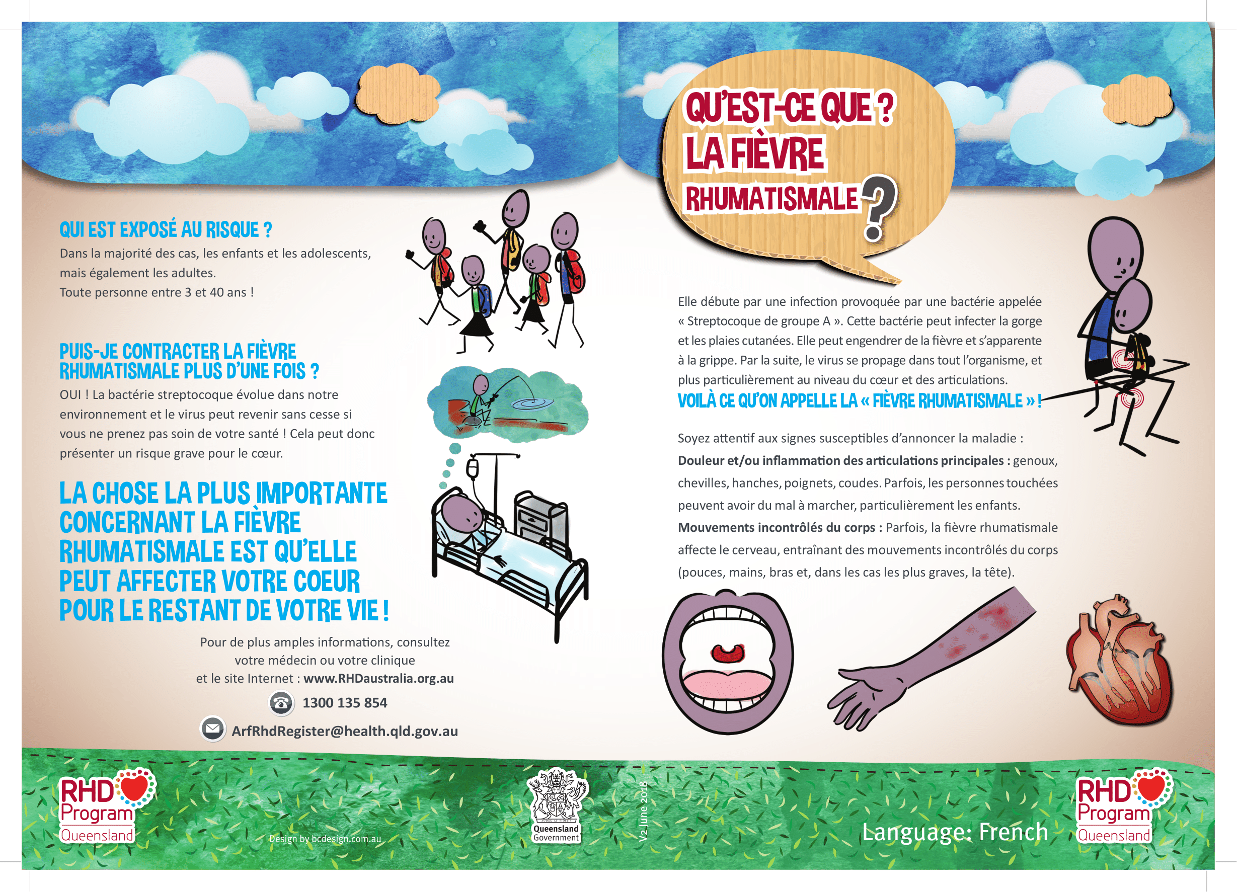 This poster presented in French, includes information about the causes, signs, symptoms and prevention of acute rheumatic fever. (A4 size)